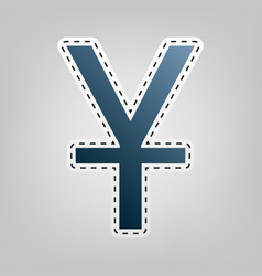 Chinese yuan sign blue icon with outline vector