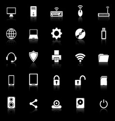 Computer icons with reflect on black background vector