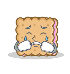 crying biscuit cartoon character style vector image