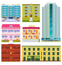 different buildings hotels facade tourist vector image