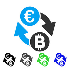 Euro bitcoin exchange coins flat icon vector