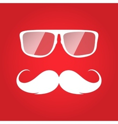 Flat white hipster glasses and mustache vector