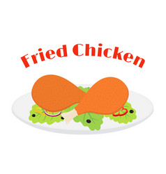 fried chicken leg tasty fast food on plate vector image