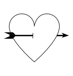 Heart cartoon with arrow icon image vector