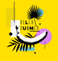 Hello summer bright poster vector