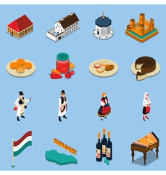 Hungary Isometric Touristic Icons Set vector image