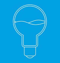 Light bulb with blue water inside icon outline vector