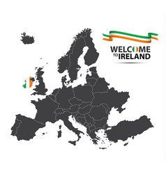 map of europe with the state of ireland vector image