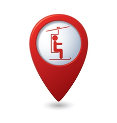 Map pointer with skier on the chair lift icon vector image