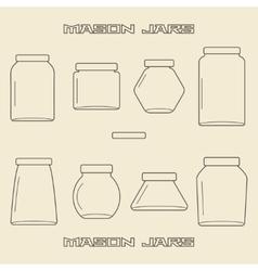 Mason jars linear icon set vector image vector image