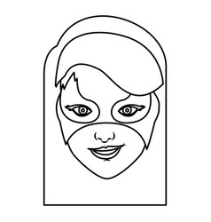 Monochrome contour of girl superhero with hair vector