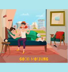 Morning waking of couple vector