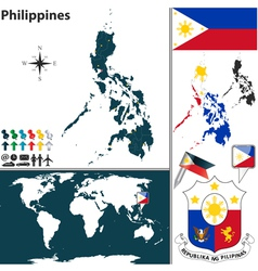 Philippines map world vector image vector image