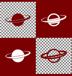 Planet in space sign bordo and white vector