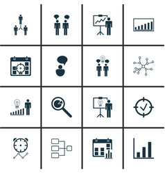 Set of 16 management icons includes company vector