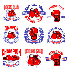 set of boxing club emblems boxing gloves design vector image vector image