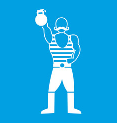Strong man with kettlebell icon white vector