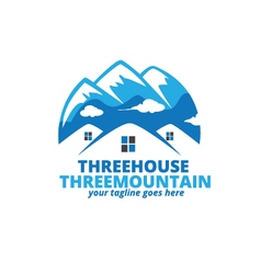 Three house three mountain logo vector
