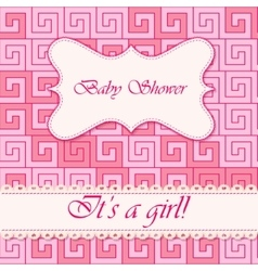 Baby shower greek background girl vector image