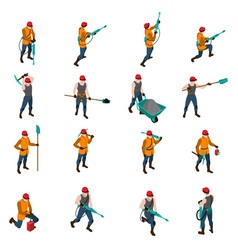Miner People Isometric Icons Set vector image