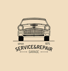 Car repair logo with retro automobile vector