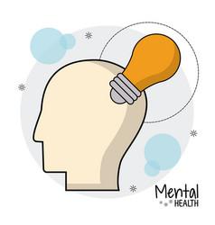 Mental health head bulb creative vector