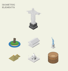 Isometric attraction set of india mosque coliseum vector