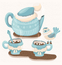 Winter with teapot mugs and bird vector