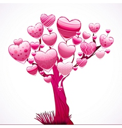 Beautiful tree with a crown of shiny hearts vector