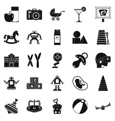 Great childhood icons set simple style vector