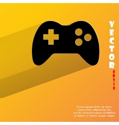Gaming joystick flat modern web button with long vector