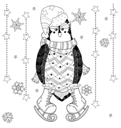 Ice skating penguin doodle vector