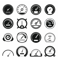 Speedometer icons set black simple style vector