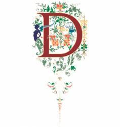 vintage letter d vector image