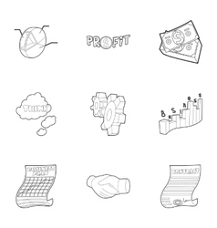 Beginner icons set outline style vector