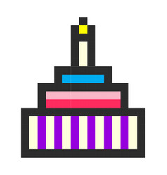 Birthday cake pixel art cartoon retro game style vector