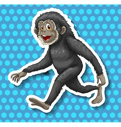 Black monkey walking and smiling vector