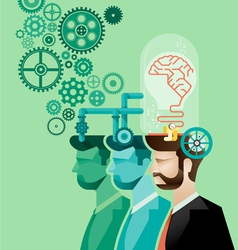 business man and brain gears in progress vector image vector image