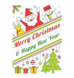 Christmas characters line style poster vector