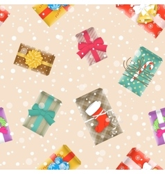 Christmas gifts festive seamless background vector image vector image