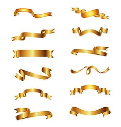 Collection Of Golden Ribbons Gold Set vector image