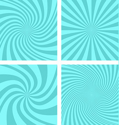 Cyan color spiral background design set vector