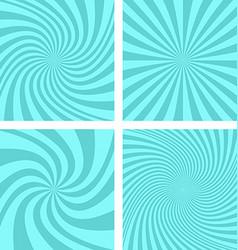 Cyan color spiral background design set vector image