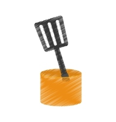 Drawing spatula yellow container utensil kitchen vector