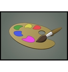Flat of color pallete and brush vector