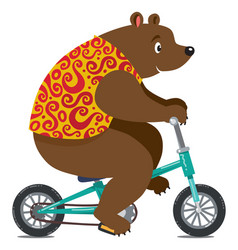 Funny circus bear on bicycle vector