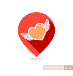 Heart with wings pin map icon vector