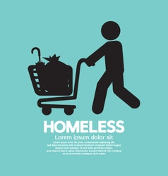 Homeless with possessions cart symbol illus vector