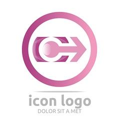 Logo Icon Arrow Letter C Circle Design Symbol vector image