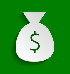 Money bag sign paper whitish vector